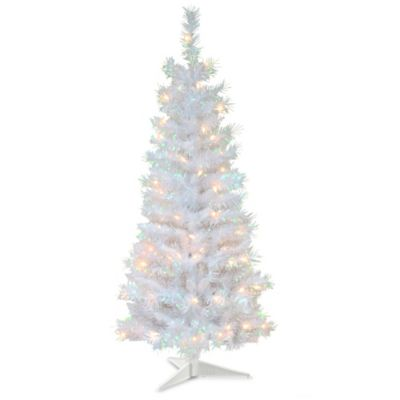 national tree company 4 foot tinsel pre lit christmas tree with plastic stand in - 4 Foot White Christmas Tree