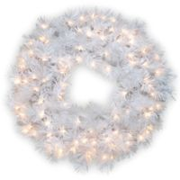 national tree company 30 inch wispy willow grande white pre lit christmas wreath with - White Christmas Wreath