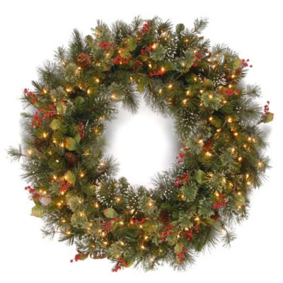 4 foot wintry pine christmas wreath with clear lights - Bed Bath And Beyond Christmas Decorations