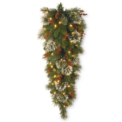 4-Foot Wintry Pine Pre-Lit Battery-Operated Teardrop Swag with Pine Cones and White LED Lights