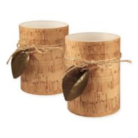 Cork with Leaf Battery-Operated LED Wax Candles (Set of 2)