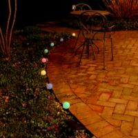 Solar-Powered 8-Light Plastic Lantern String Lights in Multi