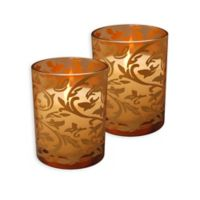 LumaBase® Count Jacquard Battery-Operated LED Candles with Timer in Gold (Set of 2)