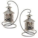 Metal Tabletop Lanterns in Silver (Set of 2)