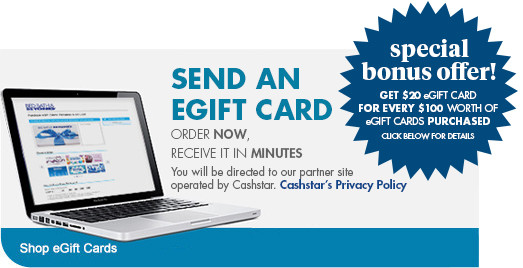 Send an eGift card. Order now, receive in minutes.