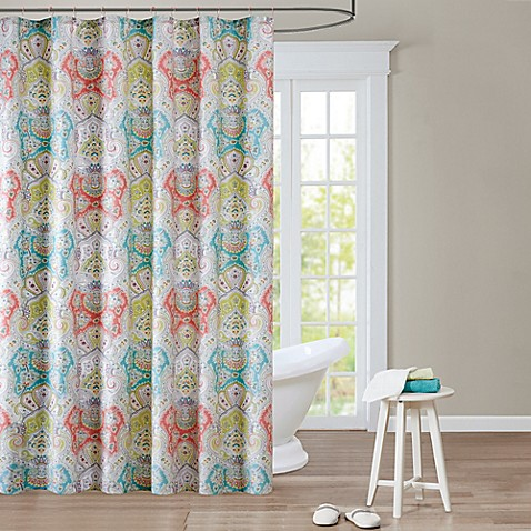 Extra Long CurtainsShower Curtains   Shower Curtain Tracks   Bed Bath   Beyond. Yellow And Teal Shower Curtain. Home Design Ideas