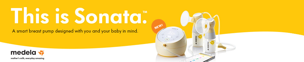 This is Sonata. A smart breast pump designed with you and your baby in mind. Medela.