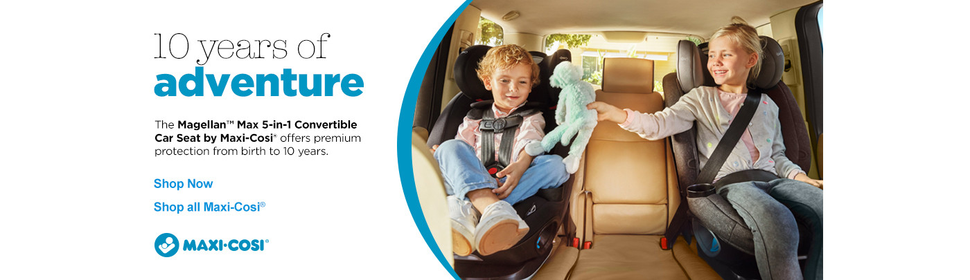 10 years of adventure - Magella Convertible Car Seat offers protection from birth to 10 years.