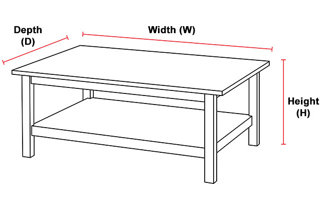Overall Measurement Illustration for Coffee Tables and End Tables