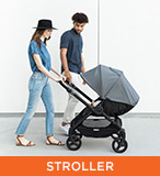 ERGObaby - Stroller; image of hip and trendy parents pushing a stroller