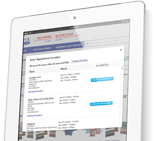 iPad with Bed Bath & Beyond Site