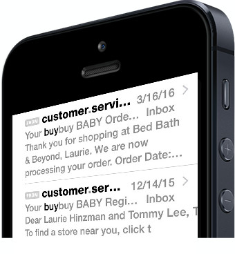 iPhone with an email from buybuby Baby Customer Service on screen