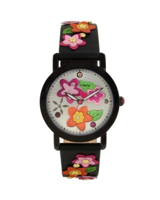 3-D FLOWER CHILD BLACK WATCH BLACK
