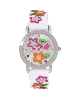 3-D FLOWER CHILD WHITE WATCH WHITE