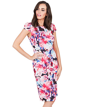 ABSTRACT BLOOMS MIDI DRESS