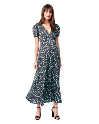 ABUNDANT FLOWERS MAXI DRESS BLACK MULTI