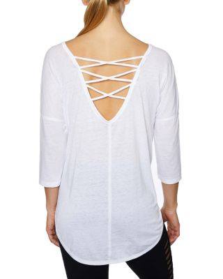 ACID WASH CRISS CROSS PULLOVER WHITE