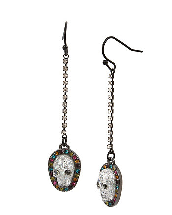 ALL HALLOWS SKULL LINEAR EARRINGS