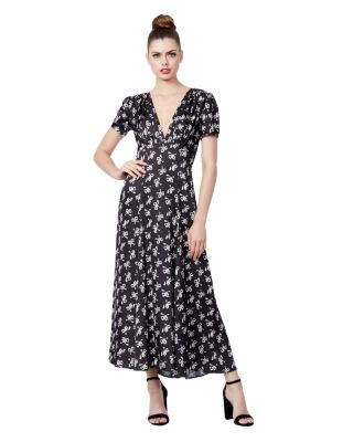 ALL THOSE BOWS PRINTED MAXI DRESS BLACK