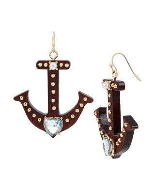 ANCHORS AWAY ANCHOR DROP EARRINGS WOOD