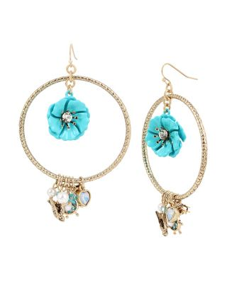 ANCHORS AWAY FLOWER ORBITAL EARRINGS TURQUOISE