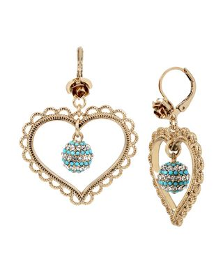 ANCHORS AWAY HEART ORBITAL EARRINGS TURQUOISE