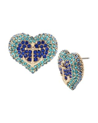 ANCHORS AWAY PAVE HEART STUD EARRINGS BLUE