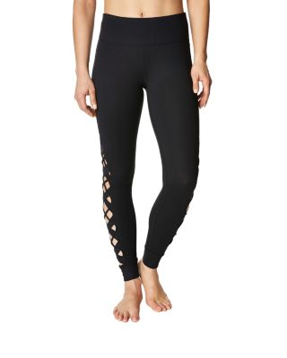 ANKLE LEGGING WITH CRISS CROSS INSERTS BLACK
