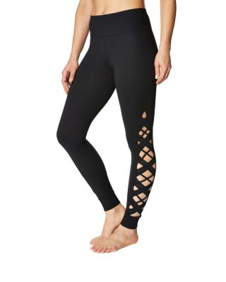 Image of ANKLE LEGGING WITH CRISS CROSS INSERTS BLACK