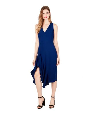 ASYMMETRIC FLOUNCE DRESS BLUE