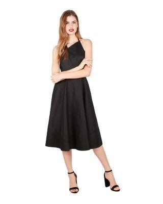 ASYMMETRIC HALTER DRESS BLACK