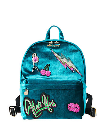 BABYS GOT BACK PATCHED VELVET BACKPACK