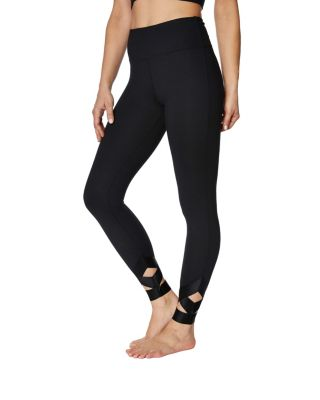 BANDED CUTOUT ANKLE LEGGING BLACK