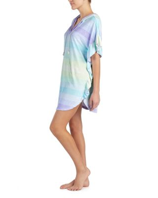 Image of BEAUTY AND THE BEACH TUNIC GREEN MULTI