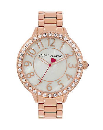 BEDAZZLED BETSEY ROSEGOLD WATCH