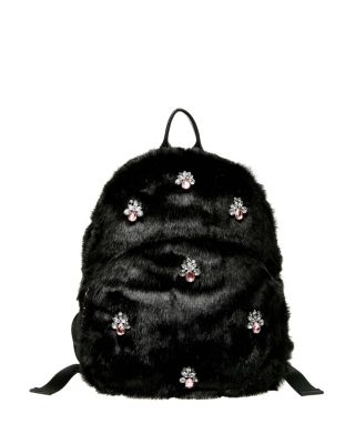 BEJEWELED FUR BACKPACK BLACK