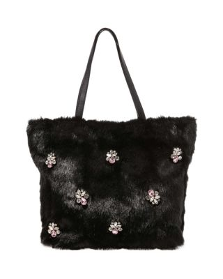 BEJEWELED FUR TOTE BLACK