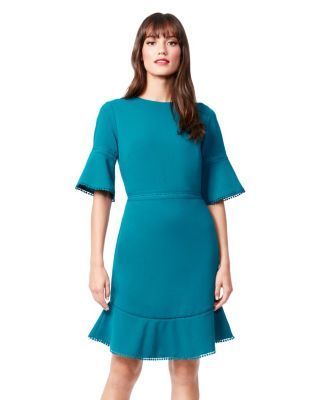 BELL SLEEVE SCUBA CREPE DRESS TEAL