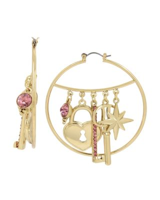 BETSEY BLAST CHARMY HOOP EARRINGS PINK