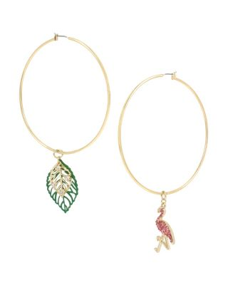 BETSEY BLAST FLAMINGO HOOP EARRINGS MULTI