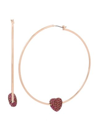 BETSEY BLAST HEART HOOP EARRINGS FUCHSIA