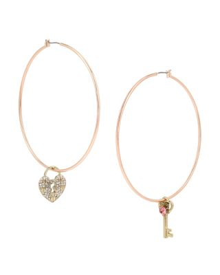 BETSEY BLAST HEART MISMATCH HOOP EARRINGS PINK