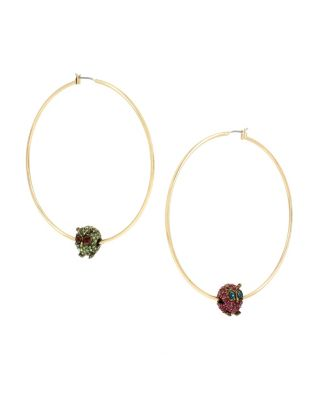 BETSEY BLAST OWL HOOP EARRINGS MULTI