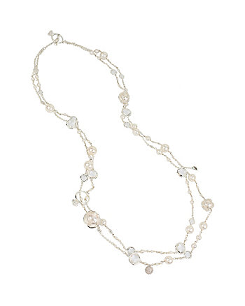 BETSEY BLUE CRYSTAL AND PEARL LONG NECKLACE