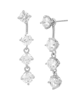 BETSEY BLUE CRYSTAL FRONT BACK EARRINGS CRYSTAL
