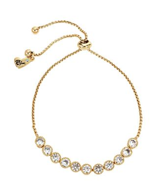 BETSEY BLUE CRYSTAL SLIDER GOLD NECKLACE CRYSTAL