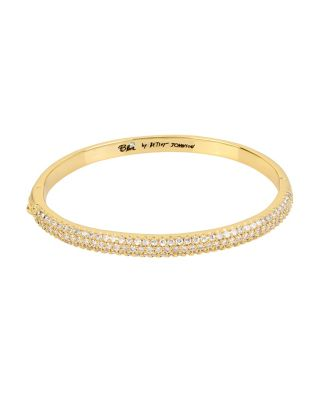 BETSEY BLUE CRYSTAL THREE ROW GOLD BANGLE CRYSTAL