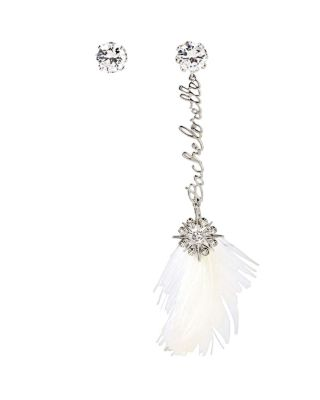 BETSEY BLUE FEATHER MISMATCH EARRINGS CRYSTAL