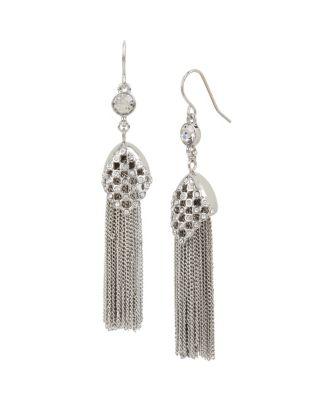 Betsey Blue Jazz Tassel Earrings Crystal