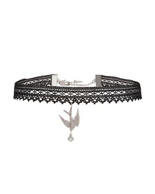 BETSEY BLUE LOVE BIRDS DOVE CHOKER BLACK